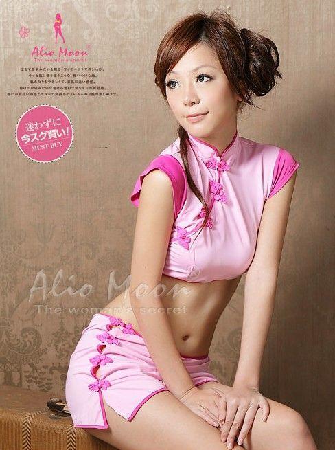 送料無料bb15ヘソ露出でセクシー感抜群 ボタンを丁寧に一つ一つ外すチャイナ服 チャイナ 衣装 ピンクのチャイナドレス コスプレ ミニ_画像2
