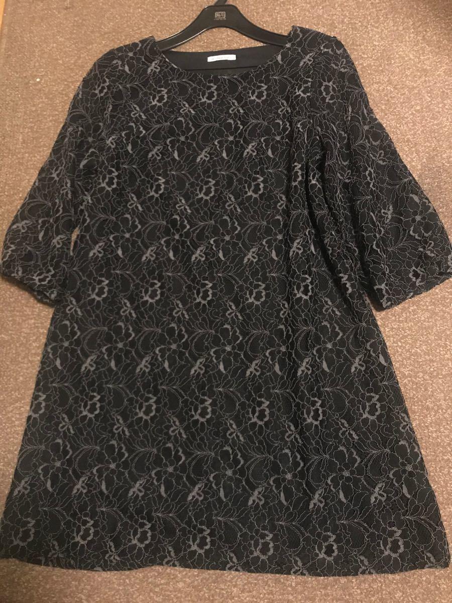 ルクールブラン 黒 レース 七分袖ワンピース 9号 美品