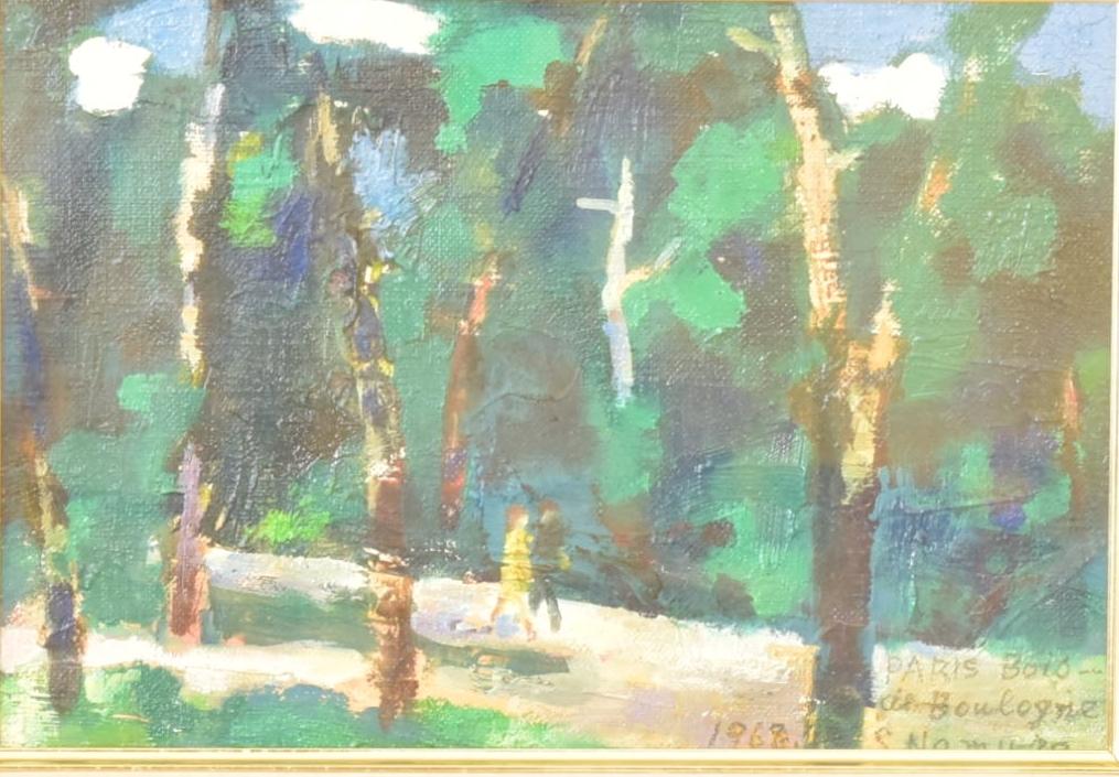 名村定志 1968年 [パリ・ブローニュの森] SM 油彩 真作_画像1