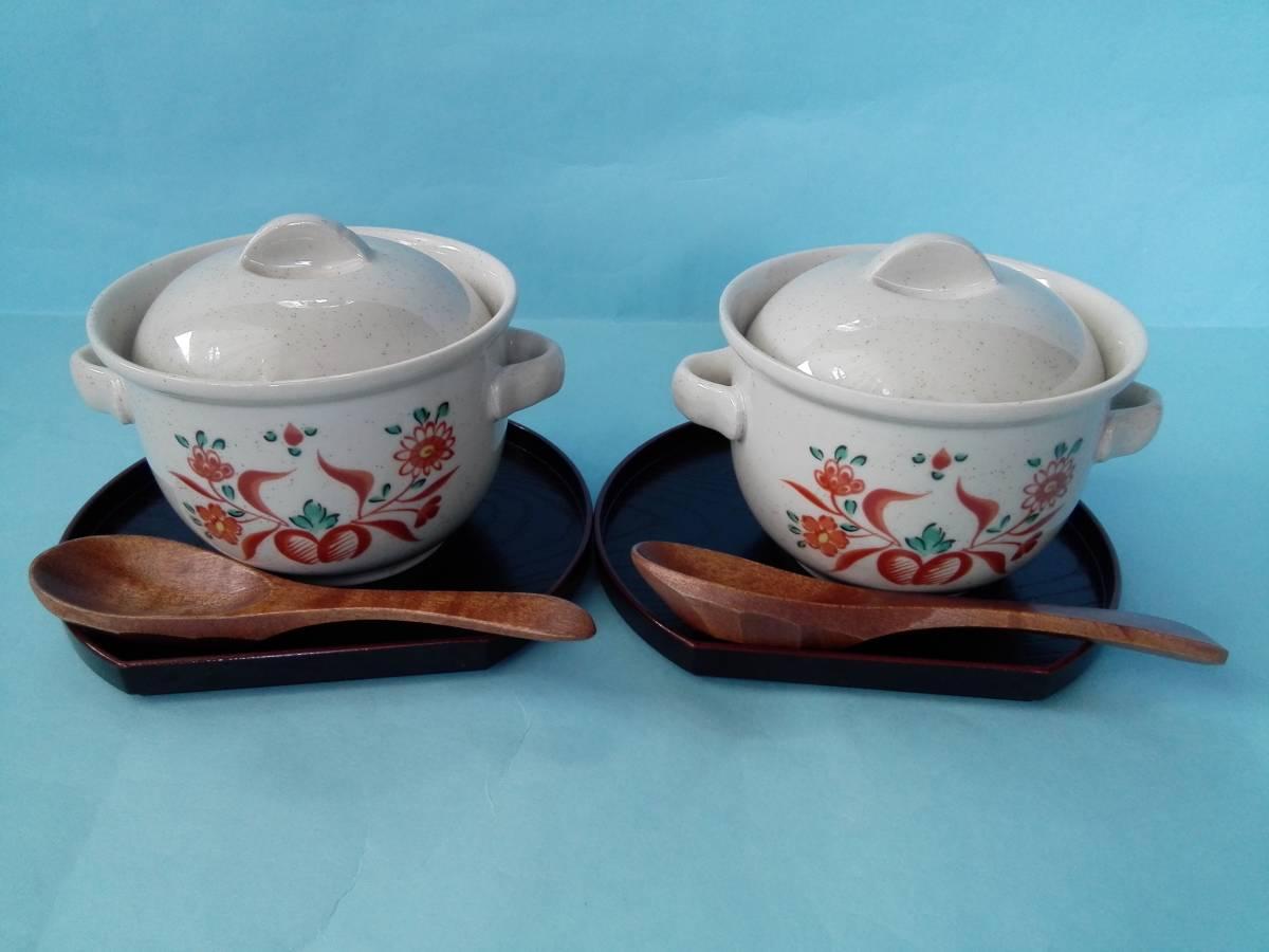 茶碗蒸器 小盆 木製スプーン 3点2客セット 蓋付持ち手付き器 _画像1