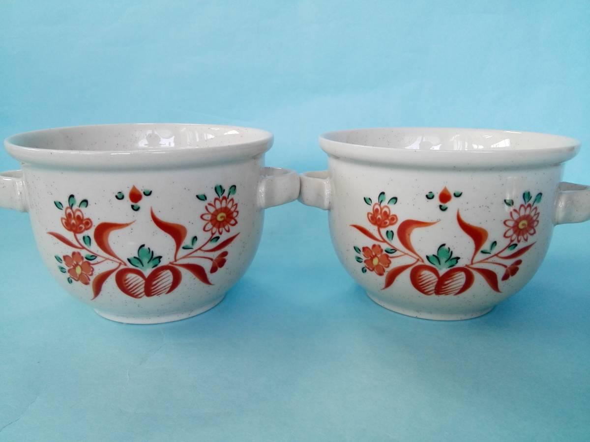 茶碗蒸器 小盆 木製スプーン 3点2客セット 蓋付持ち手付き器 _画像2