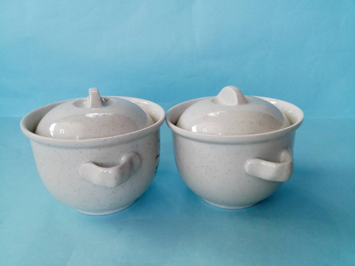 茶碗蒸器 小盆 木製スプーン 3点2客セット 蓋付持ち手付き器 _画像6