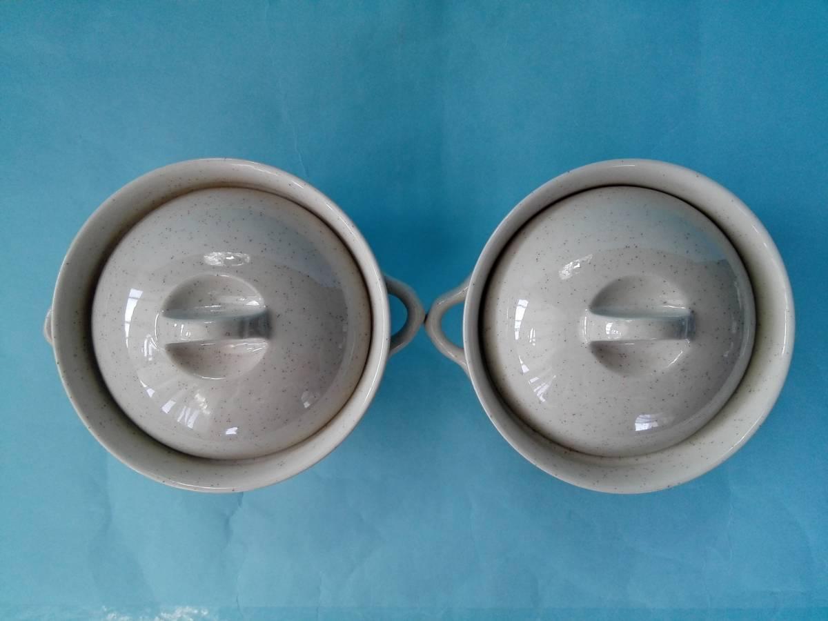 茶碗蒸器 小盆 木製スプーン 3点2客セット 蓋付持ち手付き器 _画像4