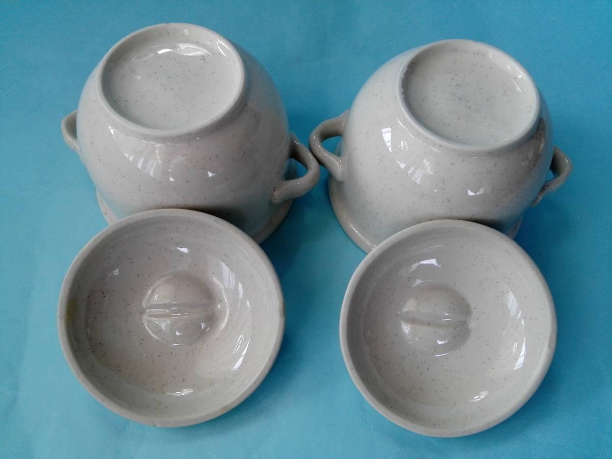 茶碗蒸器 小盆 木製スプーン 3点2客セット 蓋付持ち手付き器 _画像5