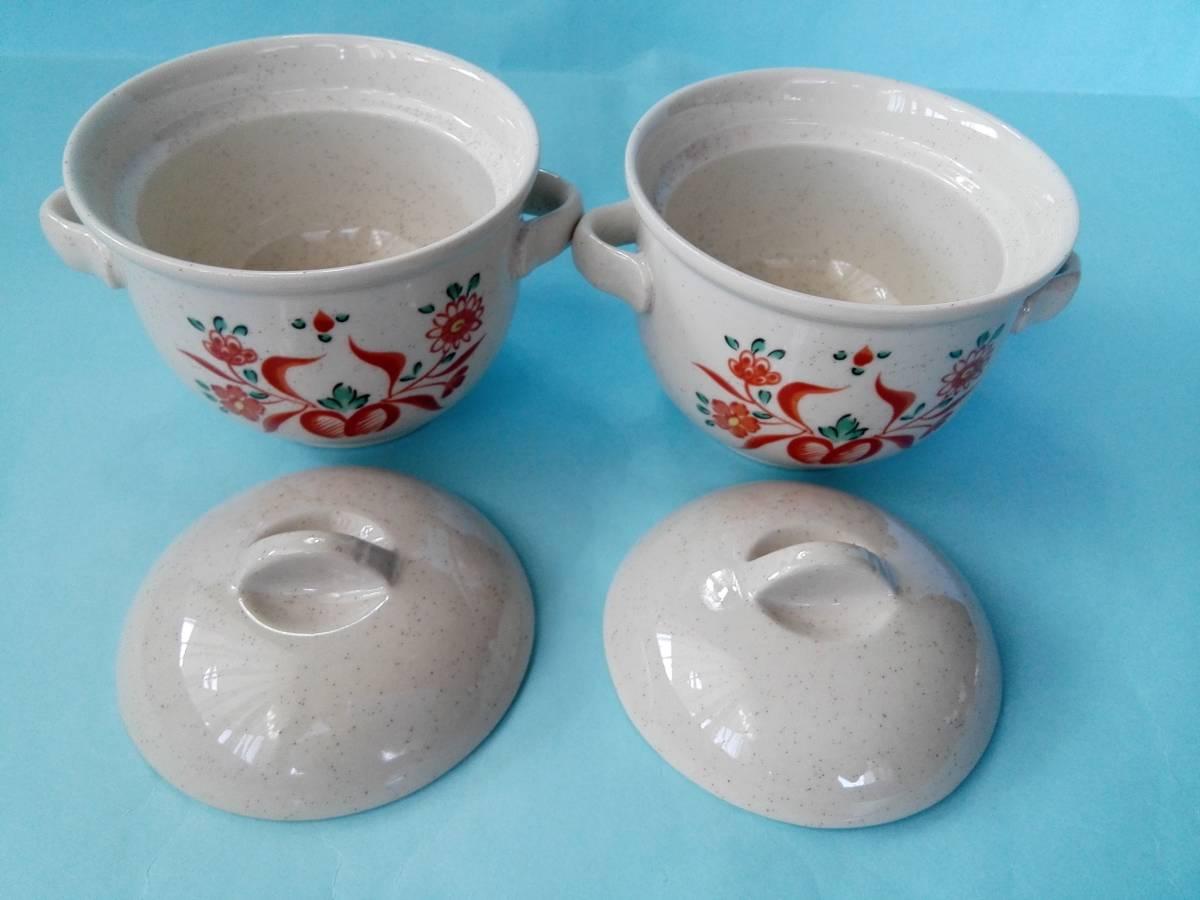 茶碗蒸器 小盆 木製スプーン 3点2客セット 蓋付持ち手付き器 _画像3