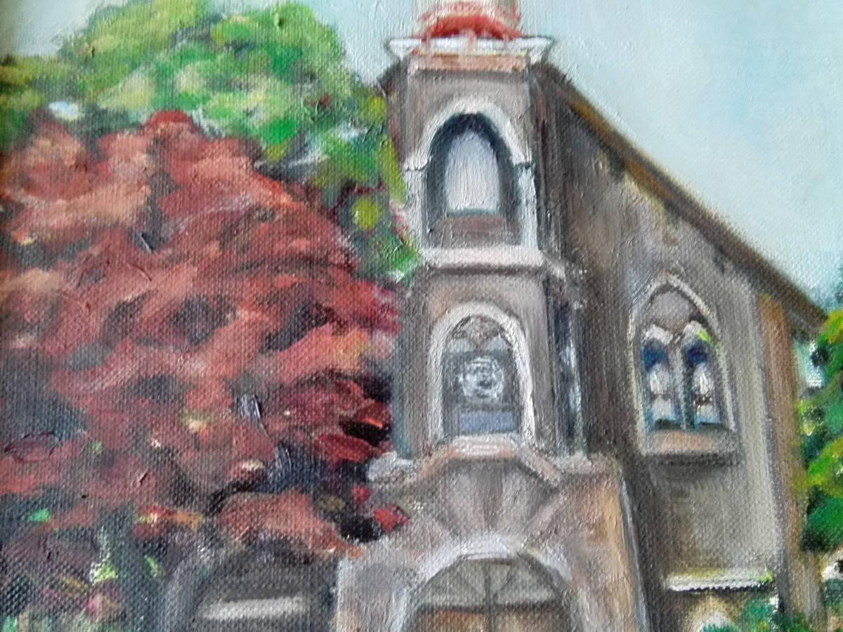 斉藤信子 油絵 油彩画 絵画  風景画 50㎝ 木製ガラス額入り_画像3