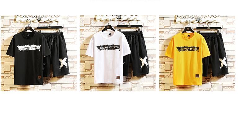 メンズ パーカー スポーツ スウェット セットアップ 上下セット 半袖 ジャージ Tシャツ ハーフパンツ ショートパンツ 黑 M~5XL_画像3