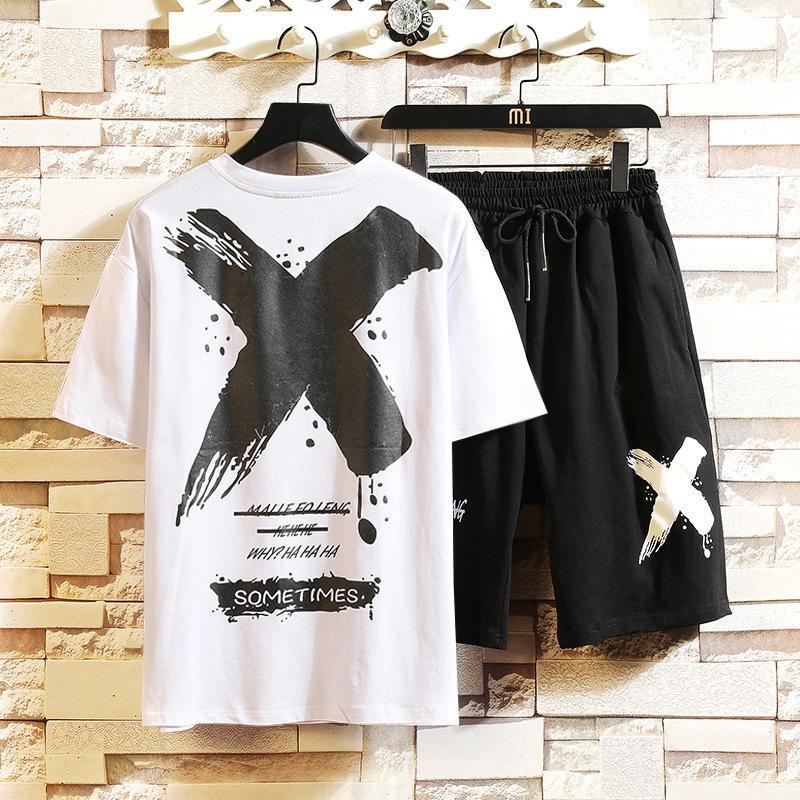 メンズ パーカー スポーツ スウェット セットアップ 上下セット 半袖 ジャージ Tシャツ ハーフパンツ ショートパンツ 黑 M~5XL_画像5