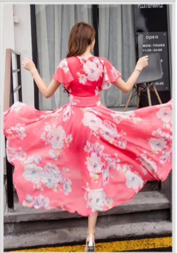 新品 送料無料 M レディース マキシ ワンピース ローズ ピンク 白 花柄 シフォン フレア袖 大人 上品 エレガント ロング ドレス ワンピ_画像3