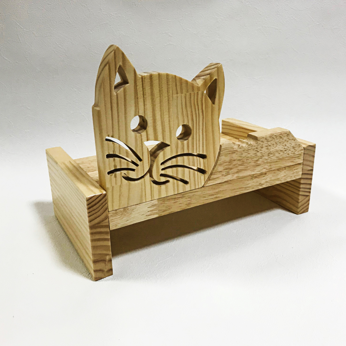 猫用 フードテーブル  小 木製 ペット 餌 水入れ ご飯台 ナチュラル