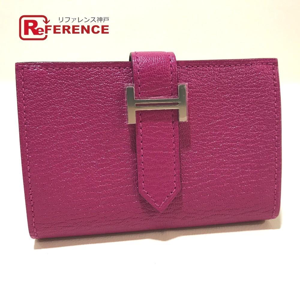 未使用 HERMES エルメス 財布 ベアン ミニ コンパクトウォレット 二つ折り財布(小銭入れあり)シェーブル ローズパープル レディース