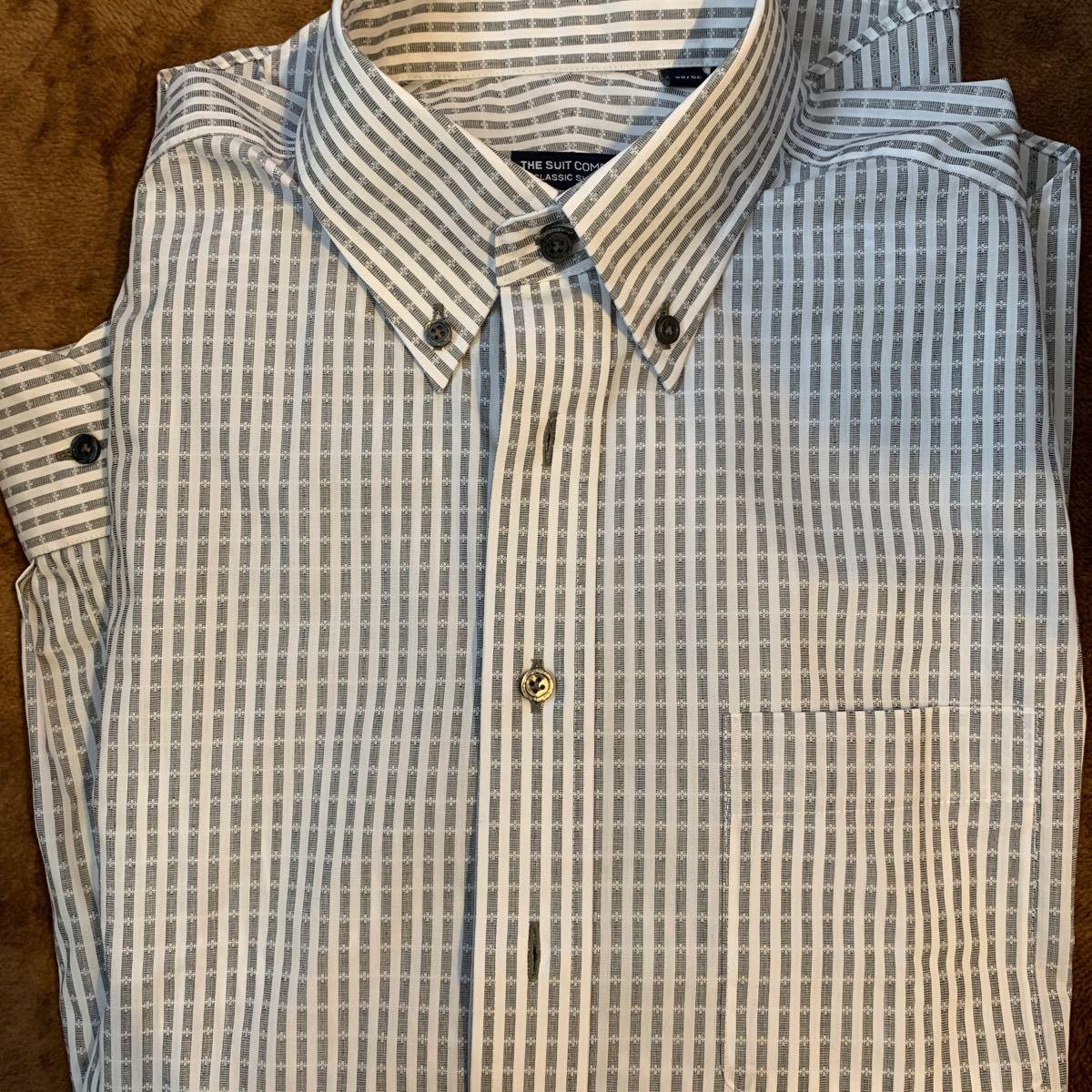 【新品】メンズ長袖Yシャツ ストライプ ビジネス用 ボタンダウンシャツ