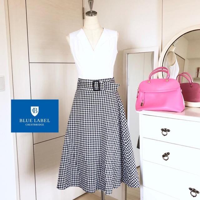 美品 店舗限定 バーバリーブルーレーベル クレストブリッジ ロングスカート 38_画像1
