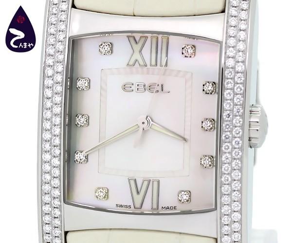 【質Shop天満屋】【人気】エベル(EBEL) ブラジリア 10Pダイヤ ダイヤベゼル メンズ クオーツ SS/革 シェル文字盤 (9255M4S)