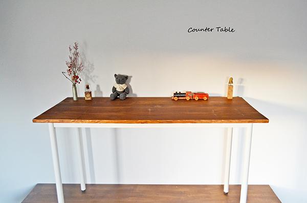 Counter Table 120 iron leg white カウンター テーブル サイド シェルフ ワーク アトリエ アンティーク 鉄脚_画像1