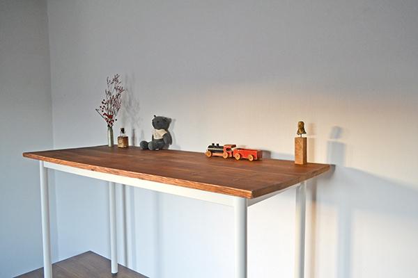 Counter Table 120 iron leg white カウンター テーブル サイド シェルフ ワーク アトリエ アンティーク 鉄脚_画像2