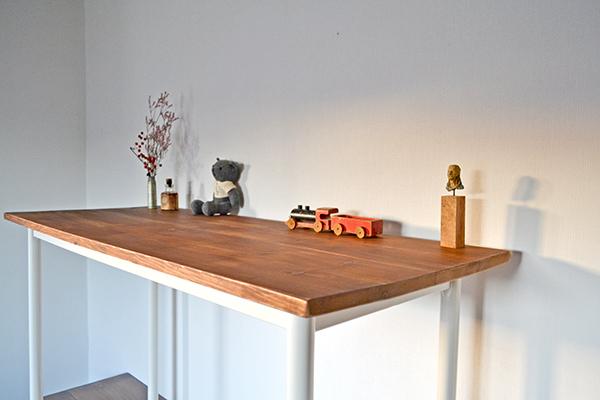 Counter Table 120 iron leg white カウンター テーブル サイド シェルフ ワーク アトリエ アンティーク 鉄脚_画像4