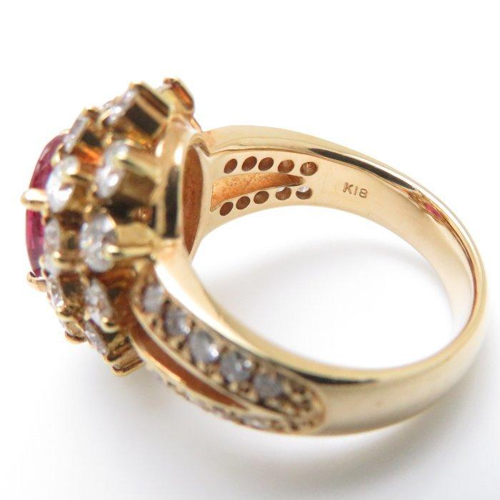 リング K18YG ルビー1.80ct ダイヤモンド2.02ct 9号 18金イエローゴールド 指輪 レディース ジュエリー /63952 【中古】_画像8