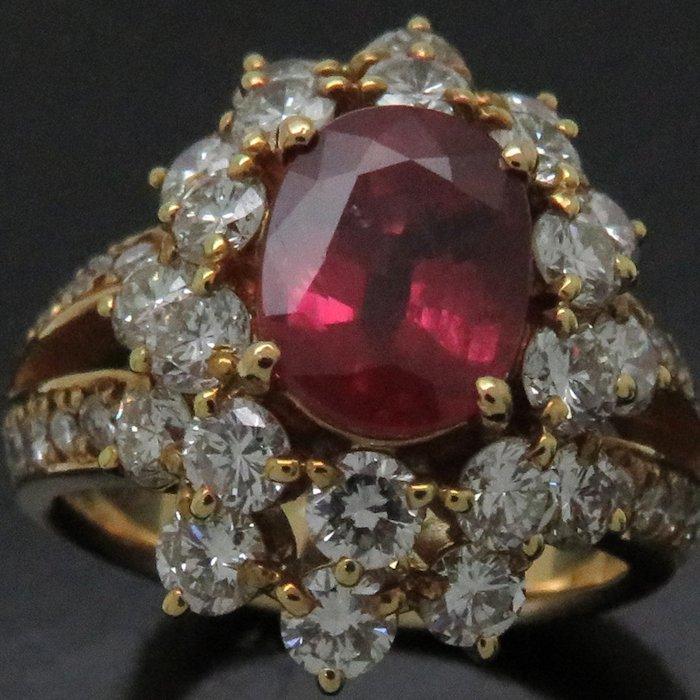 リング K18YG ルビー1.80ct ダイヤモンド2.02ct 9号 18金イエローゴールド 指輪 レディース ジュエリー /63952 【中古】_画像7