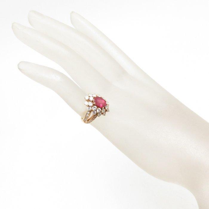 リング K18YG ルビー1.80ct ダイヤモンド2.02ct 9号 18金イエローゴールド 指輪 レディース ジュエリー /63952 【中古】_画像3