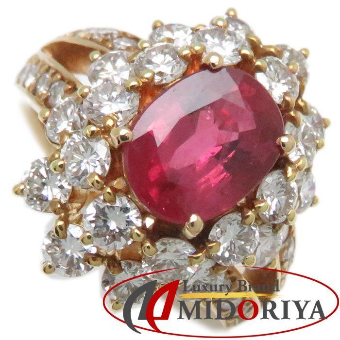 リング K18YG ルビー1.80ct ダイヤモンド2.02ct 9号 18金イエローゴールド 指輪 レディース ジュエリー /63952 【中古】_画像1