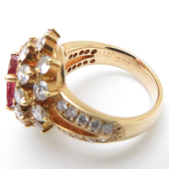 リング K18YG ルビー1.80ct ダイヤモンド2.02ct 9号 18金イエローゴールド 指輪 レディース ジュエリー /63952 【中古】_画像9