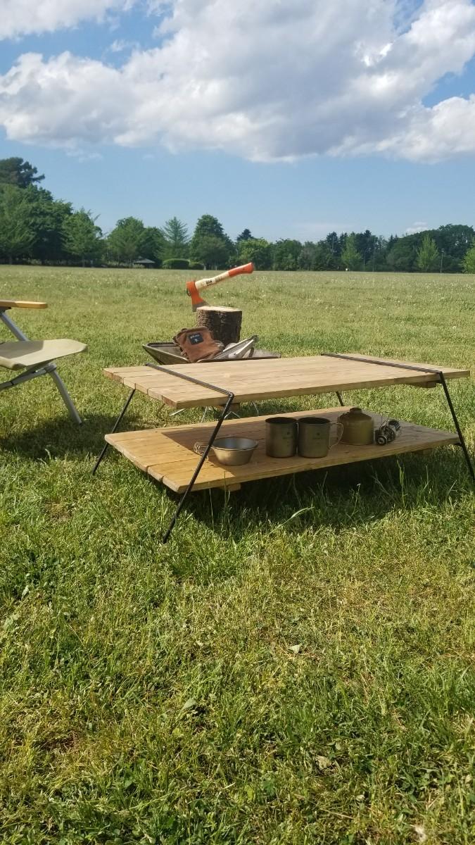 アイアンレッグ ナチュラルウッドローテーブル アウトドア&インテリア板フルセット