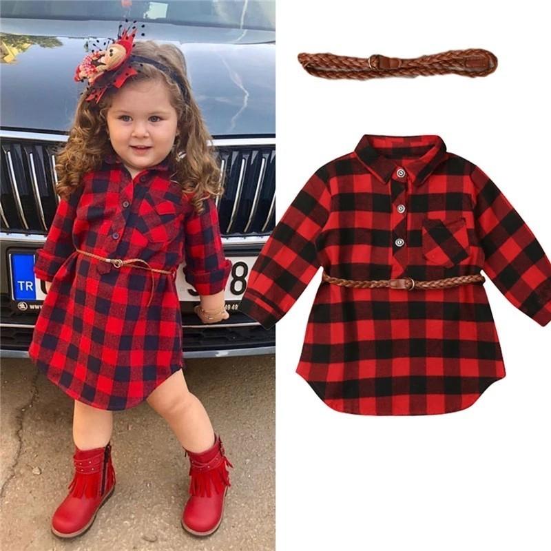 女の子 赤チェック柄シャツワンピース(ベルト付き) 110cm