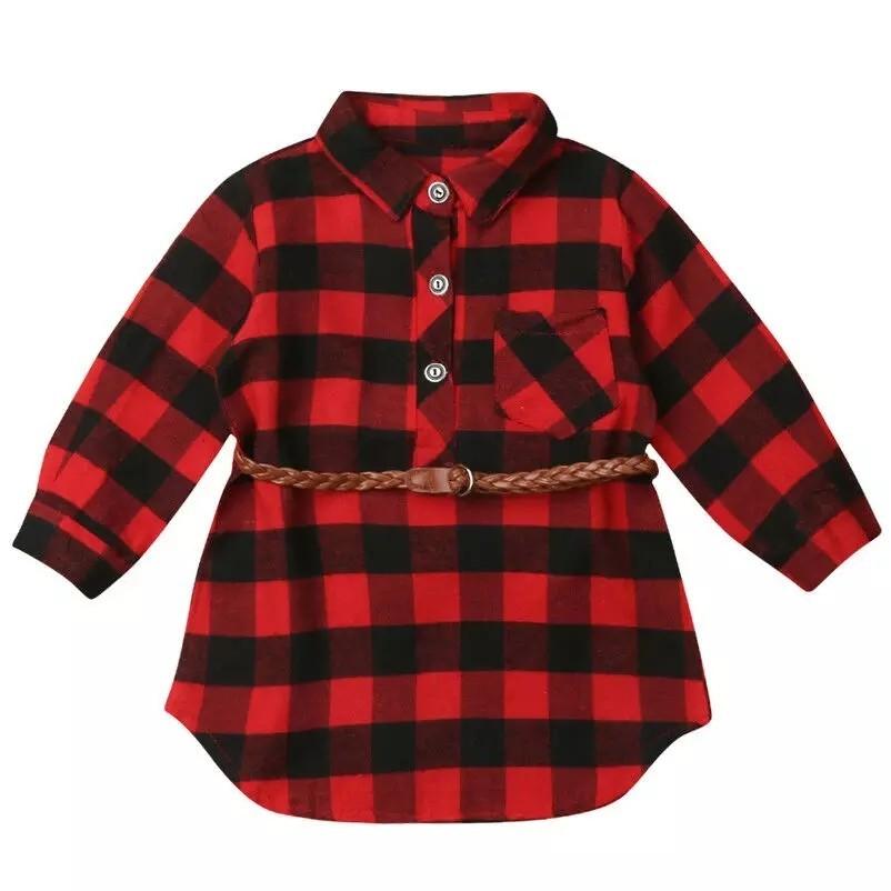 女の子 赤チェック柄シャツワンピース(ベルト付き) 100cm