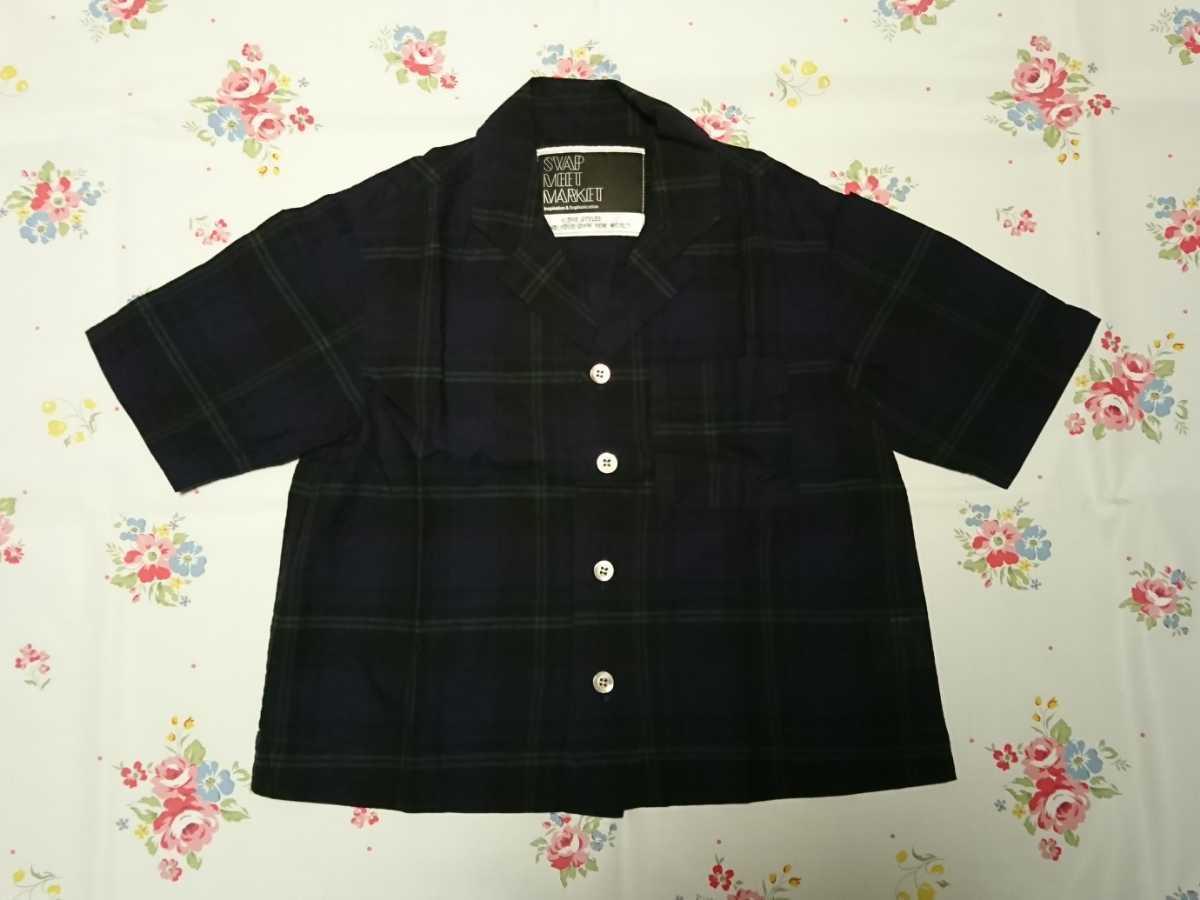 swap meet market スワップミートマーケット 綿麻チェックシャツ♪120サイズ_画像1
