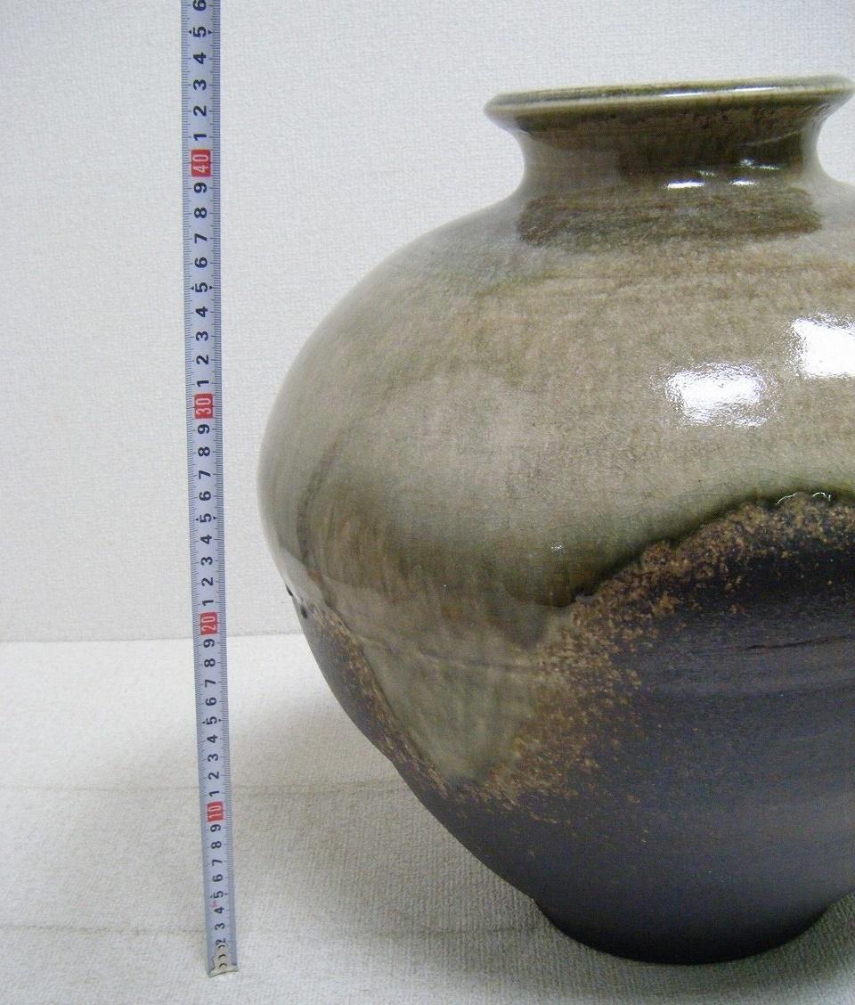 ☆特大/花器 何焼きか不明… 大きな花瓶 花びん 高さ42.5×直径41㎝ 重さ約10kg 日本伝統工芸 ビッグサイズ 置物 オブジェ 和室インテリア_画像8