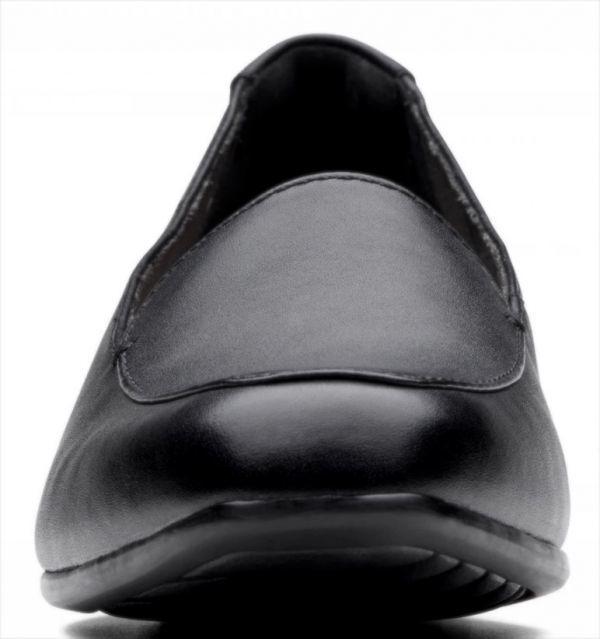 送料無料 Clarks 25.5cm クラシック フラット ブラック 黒 レザー 革 バレエ ローファー ソフト インソール フォーマル スリッポン AC57_画像8