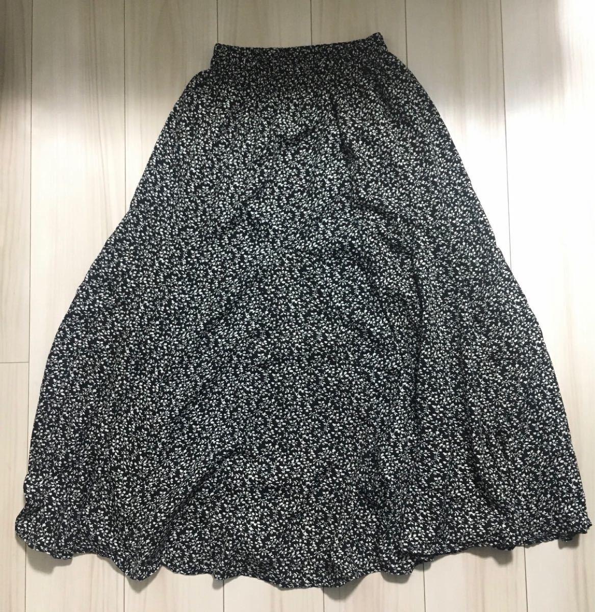 花柄マキシスカート  ロングスカート ロング丈 スカート  花柄スカート