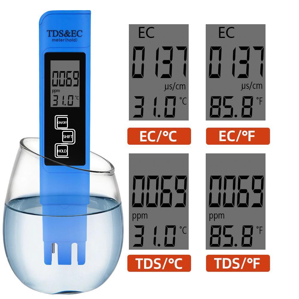 TDS Ec メーター温度テスターペン 3 In1 機能導電率水質測定ツール TDS & EC テスター 0-9990ppm 15%_画像1