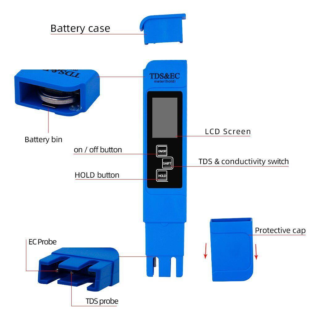 TDS Ec メーター温度テスターペン 3 In1 機能導電率水質測定ツール TDS & EC テスター 0-9990ppm 15%_画像3