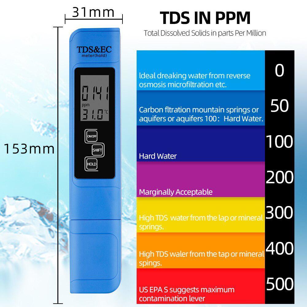 TDS Ec メーター温度テスターペン 3 In1 機能導電率水質測定ツール TDS & EC テスター 0-9990ppm 15%_画像4