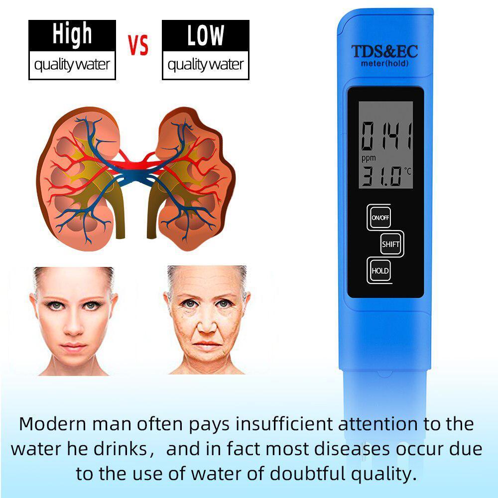 TDS Ec メーター温度テスターペン 3 In1 機能導電率水質測定ツール TDS & EC テスター 0-9990ppm 15%_画像5