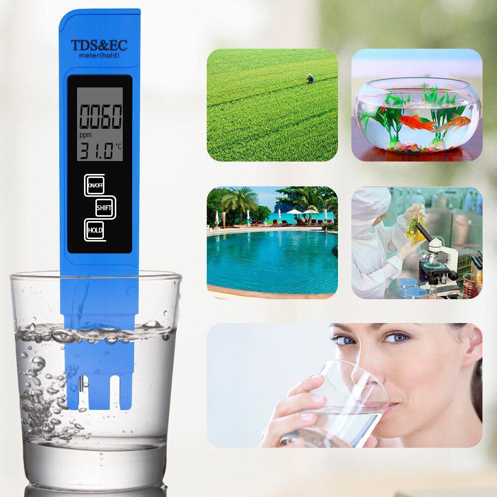 TDS Ec メーター温度テスターペン 3 In1 機能導電率水質測定ツール TDS & EC テスター 0-9990ppm 15%_画像6