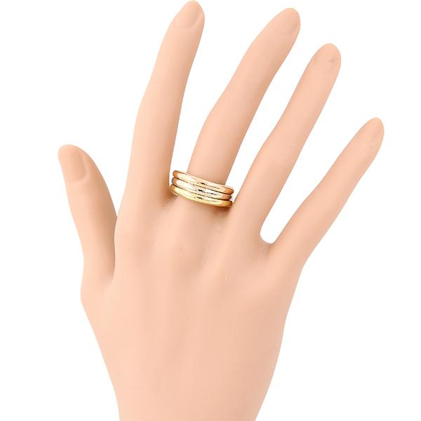 6073 仕上済 カルティエ モビリスリング #52 12号 K18 イエロー ピンク ホワイト 3色 指輪 3連 レディース アクセサリー ジュエリー 小物_画像7