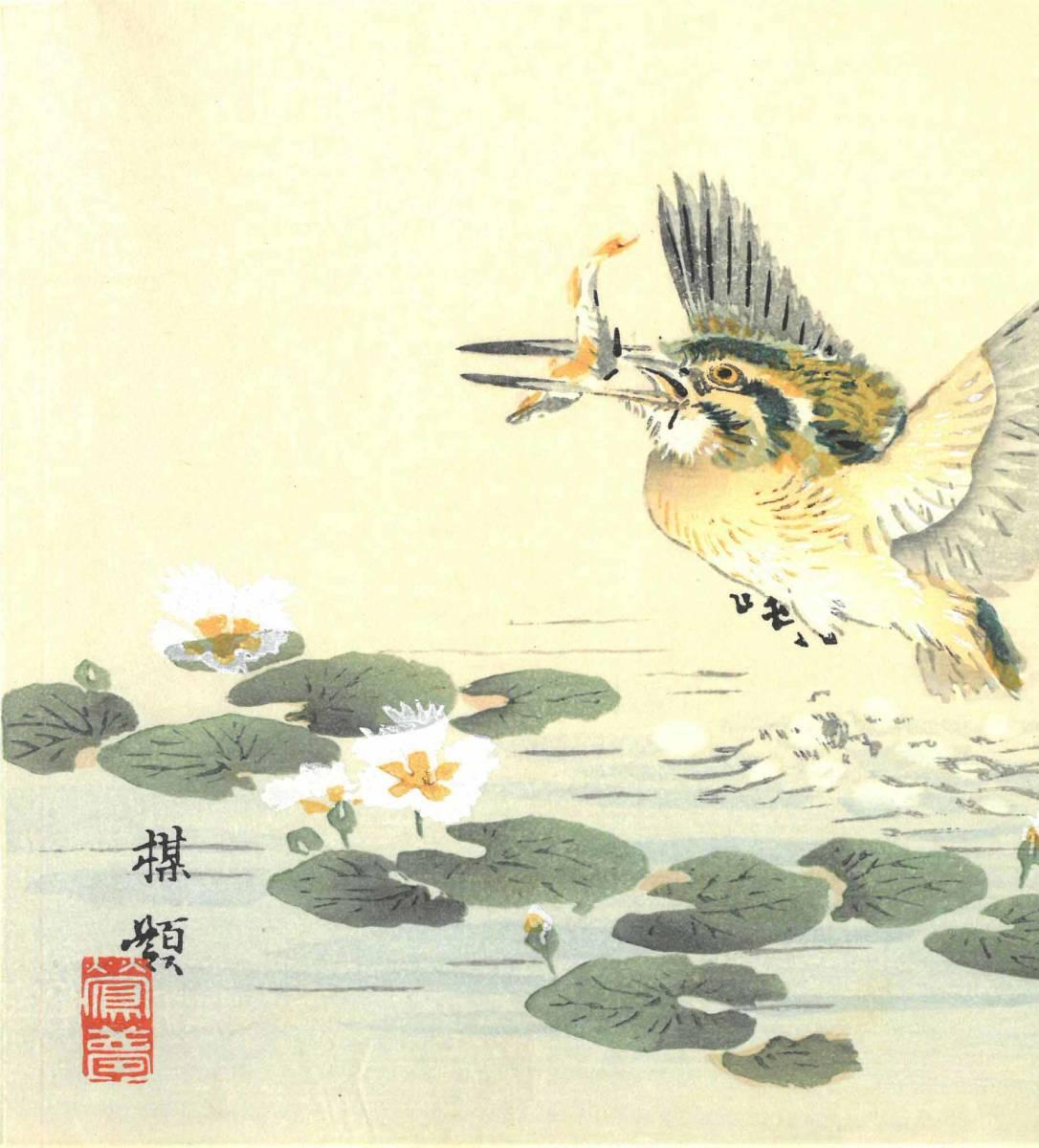 幸野楳嶺 (Kono Bairei) (1844~1895) 木版画 かわせみ 初版明治期~ 版元蔵出し作品! 京都の一流の摺師の技をご堪能下さい。_画像6