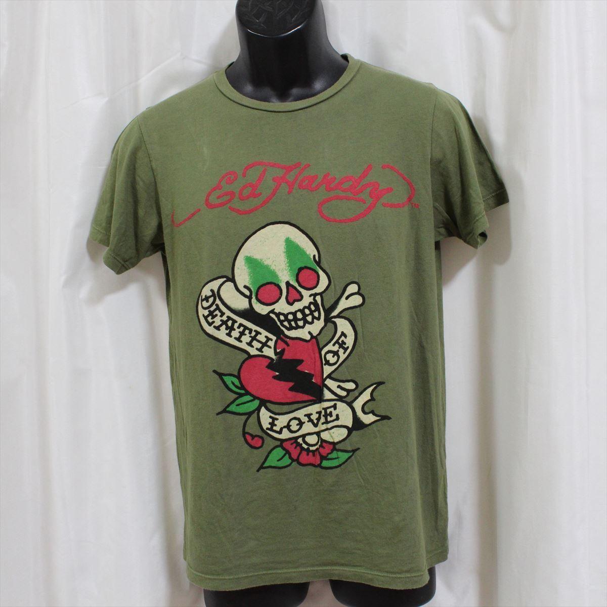 エドハーディー ED HARDY メンズ半袖Tシャツ グリーン Sサイズ 新品 アメリカ製_画像1