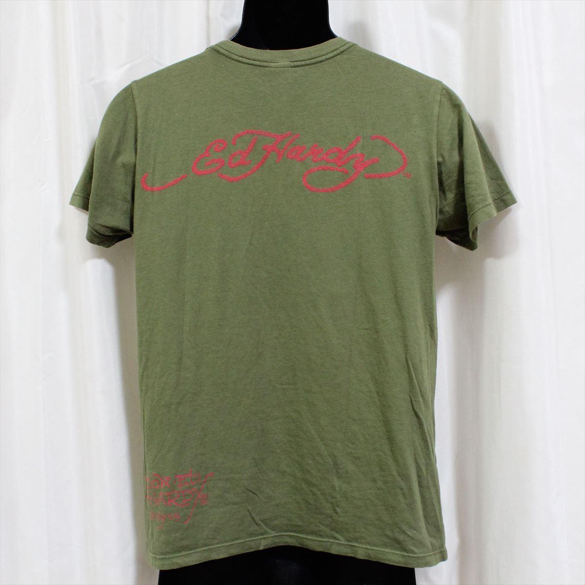 エドハーディー ED HARDY メンズ半袖Tシャツ グリーン Sサイズ 新品 アメリカ製_画像3