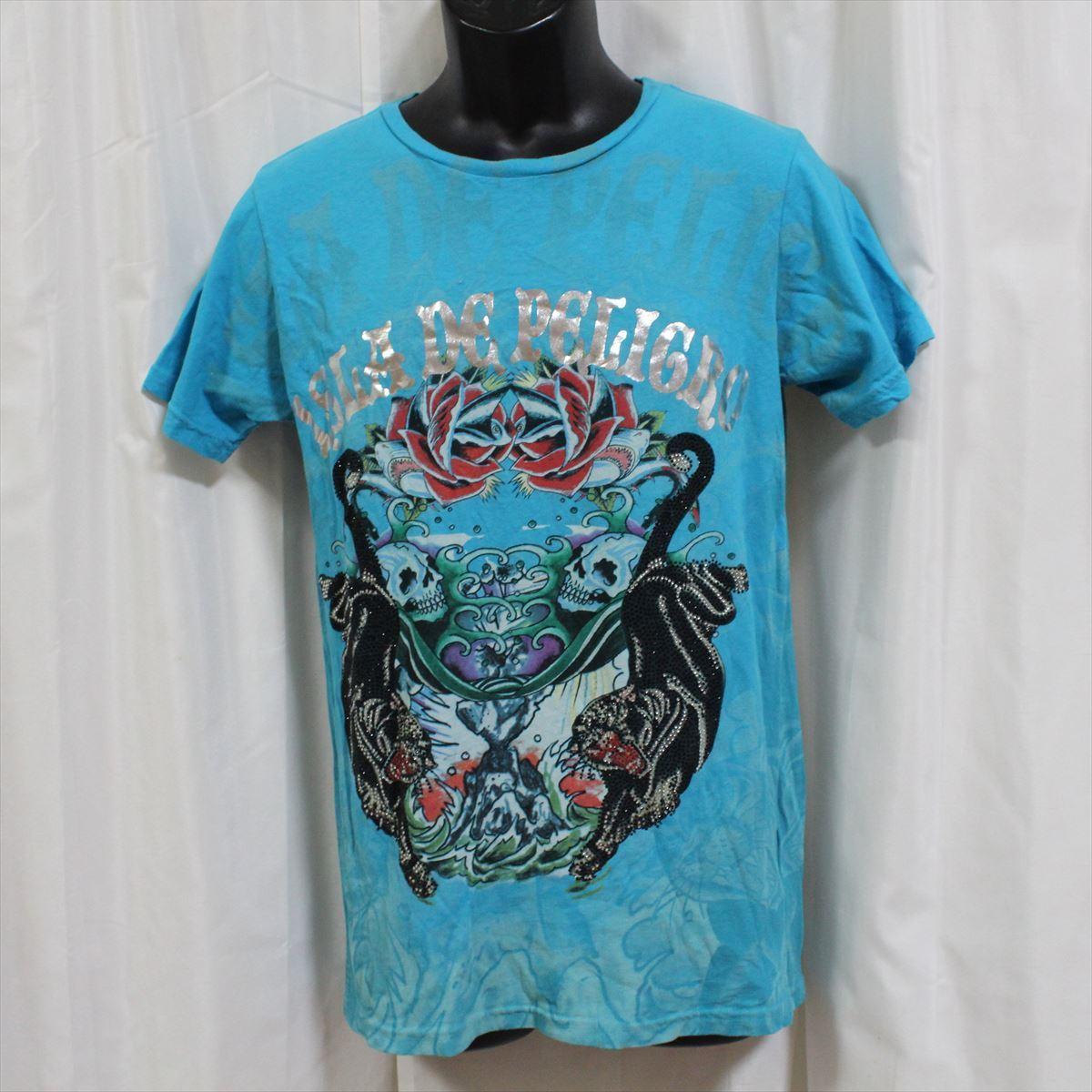 エドハーディー ED HARDY メンズ半袖Tシャツ ブルー Sサイズ 新品_画像1