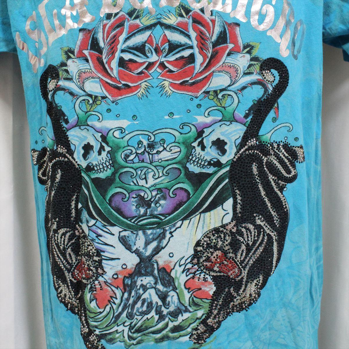 エドハーディー ED HARDY メンズ半袖Tシャツ ブルー Sサイズ 新品_画像2