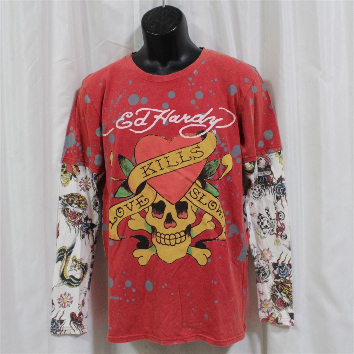 エドハーディー ED HARDY メンズ長袖Tシャツ M03VDS052 レッド Lサイズ 新品 ダブルスリーブ LOVE KILL SLOWLY_画像1