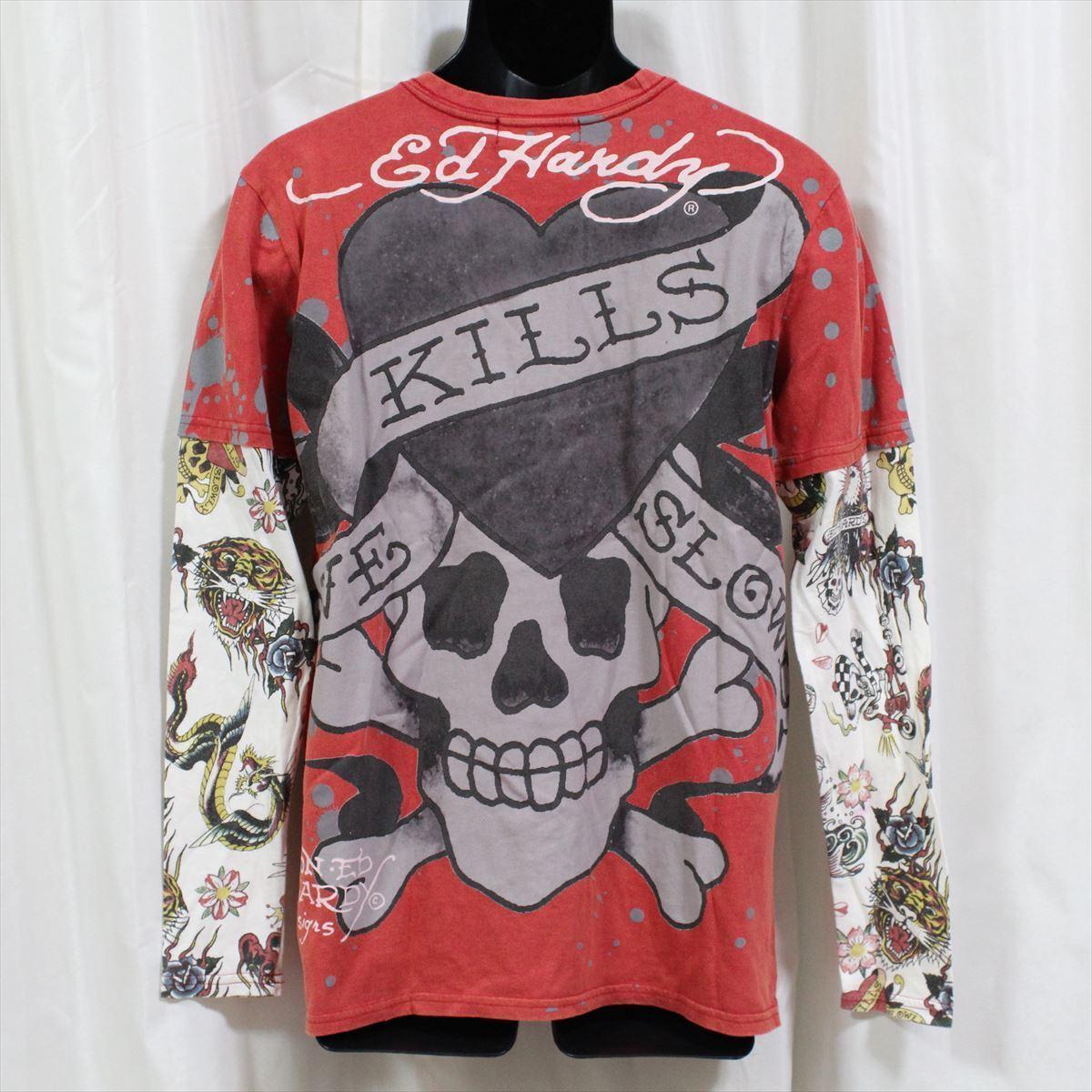 エドハーディー ED HARDY メンズ長袖Tシャツ M03VDS052 レッド Lサイズ 新品 ダブルスリーブ LOVE KILL SLOWLY_画像5
