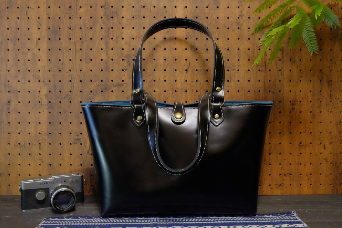 ★美麗プレミアムイタリアンレザー漆黒牛革トートバッグ アンティークブラックコードバン風本革艶黒帆布鞄