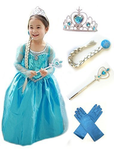 120cm アナと雪の女王 エルサ 風 子供用 ドレス 5点セット ( ドレス ・ ティアラ ・ 魔法の杖 ・ 三つ編みの付けウイッグ ・ 手袋 )