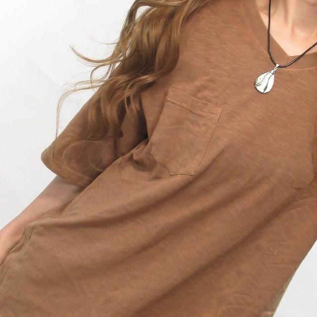 ユニセックス / ビンテージ Vネック ピグメント加工 胸ポケット 無地 Tシャツ  ユニセックス