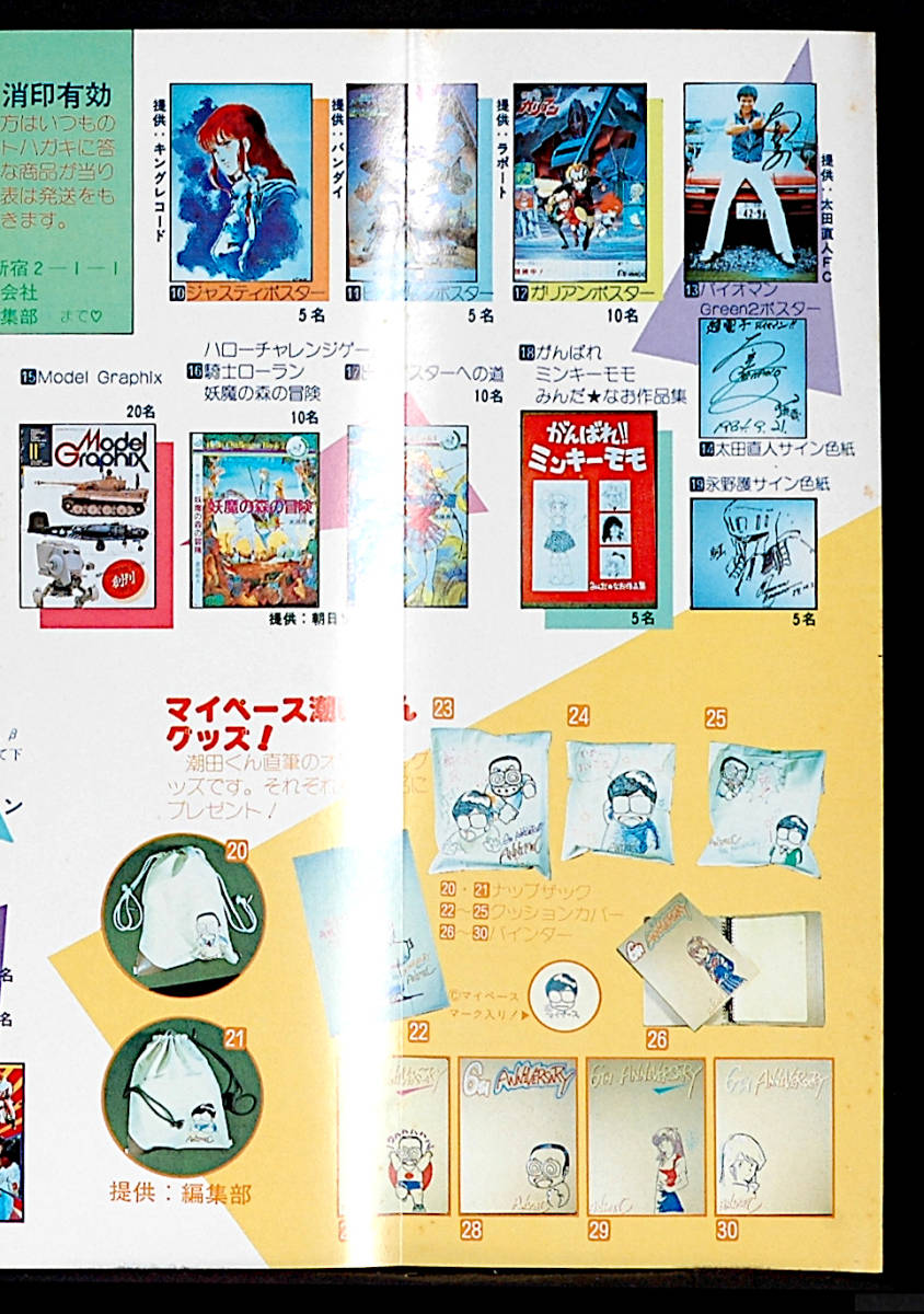 [Vintage][Not Displayed][Delivery Free]1984 Animec Pin-Up Poster Takada Akemi/ 6th Year Reader Present 高田明美[tag2202]_画像8